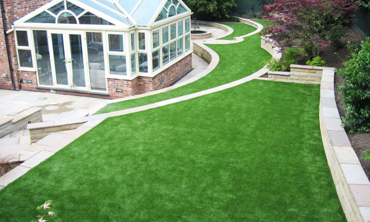 large back garden with artificial grass