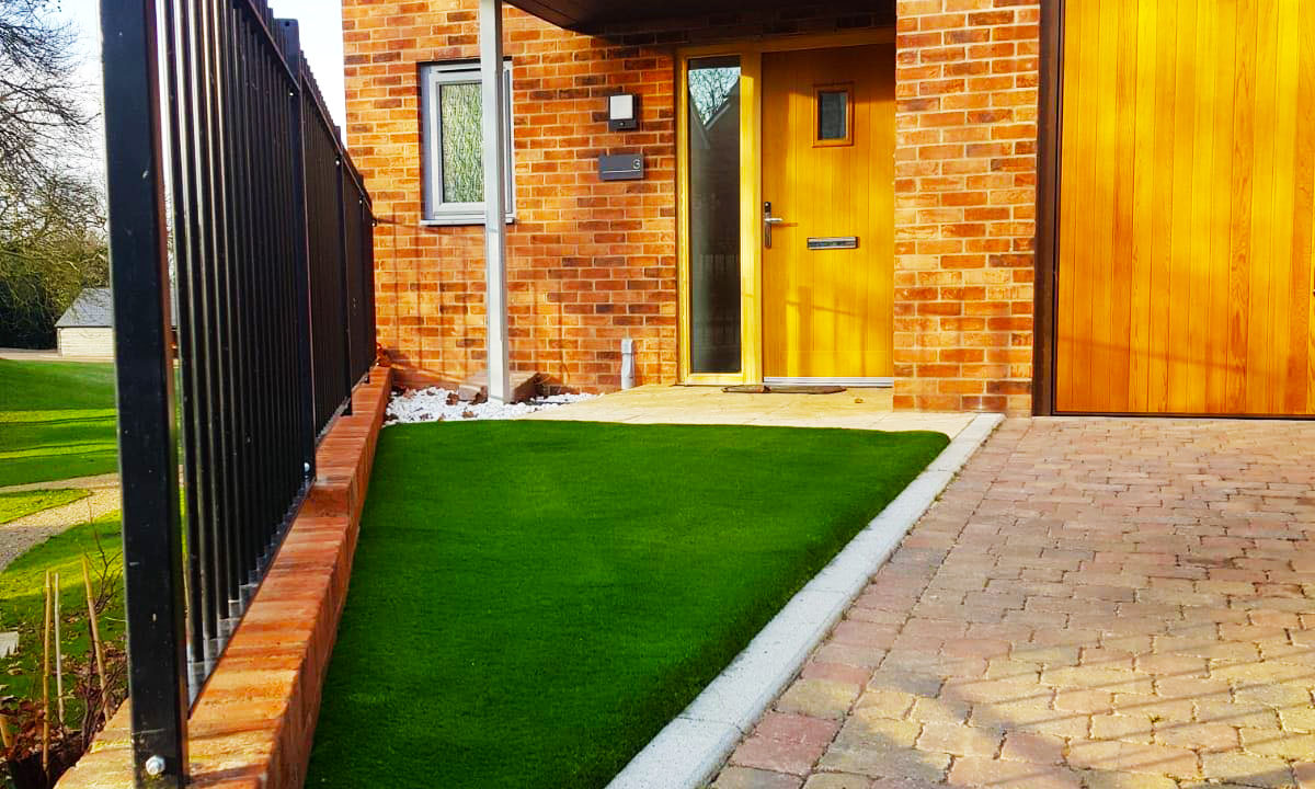driveway with artificial grass