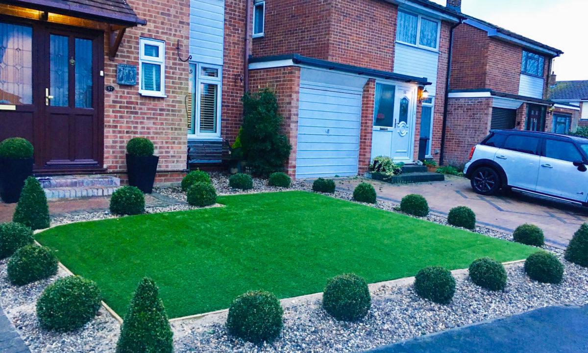 front garden with artificial grass