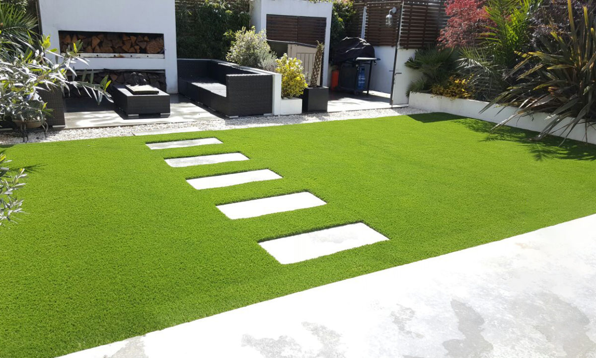 back garden with artificial grass