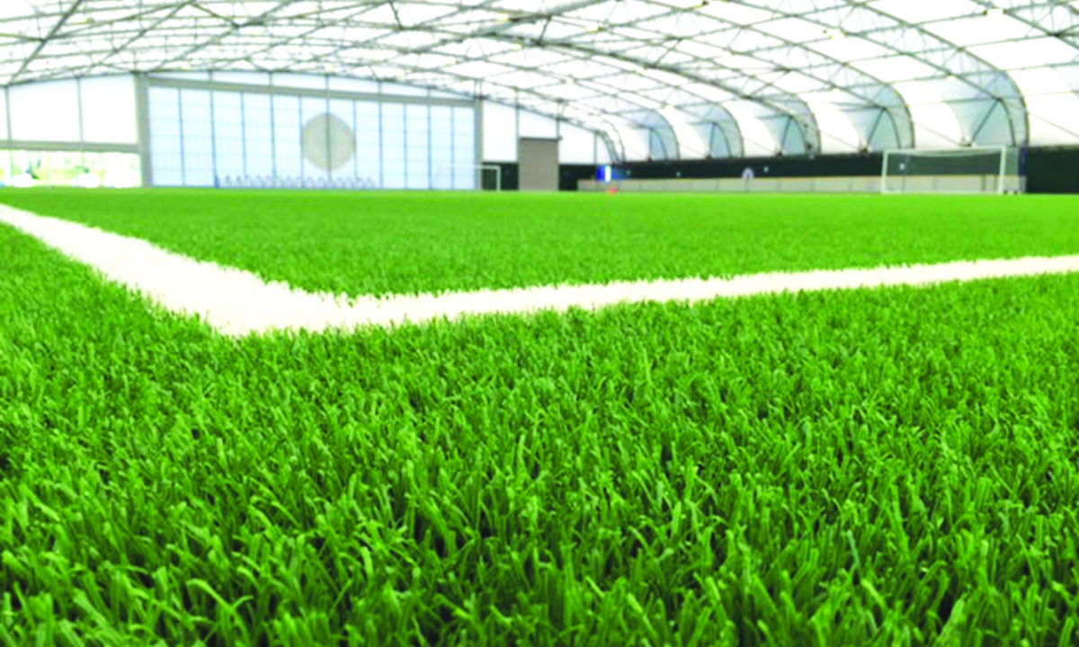 indoor football pitch with artificial grass