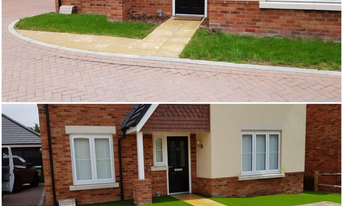 driveway before and after artificial grass installation