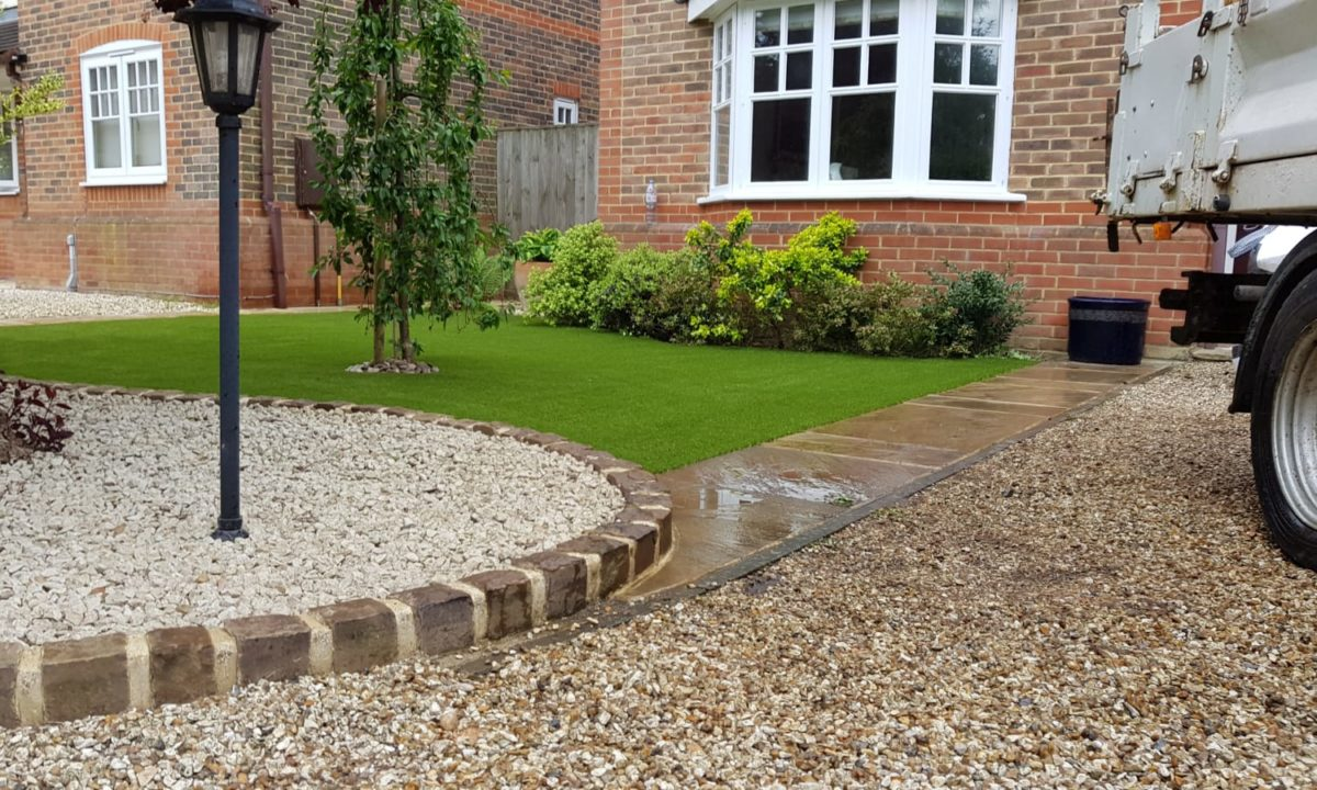 front garden after the artificial glass installation
