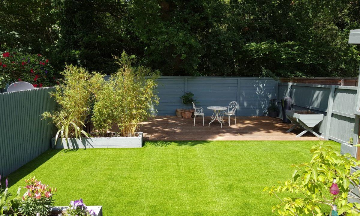 back garden after the artificial glass installation