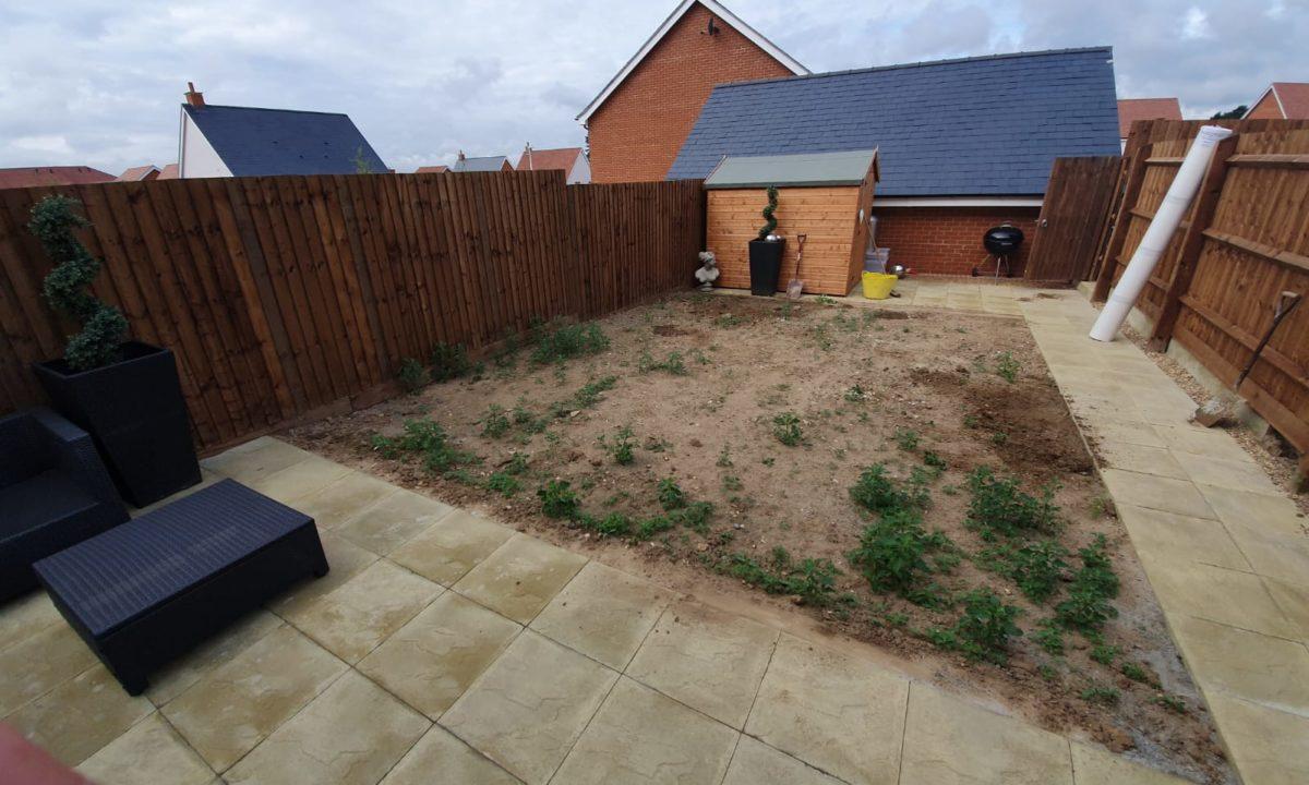 back garden before the artificial glass installation