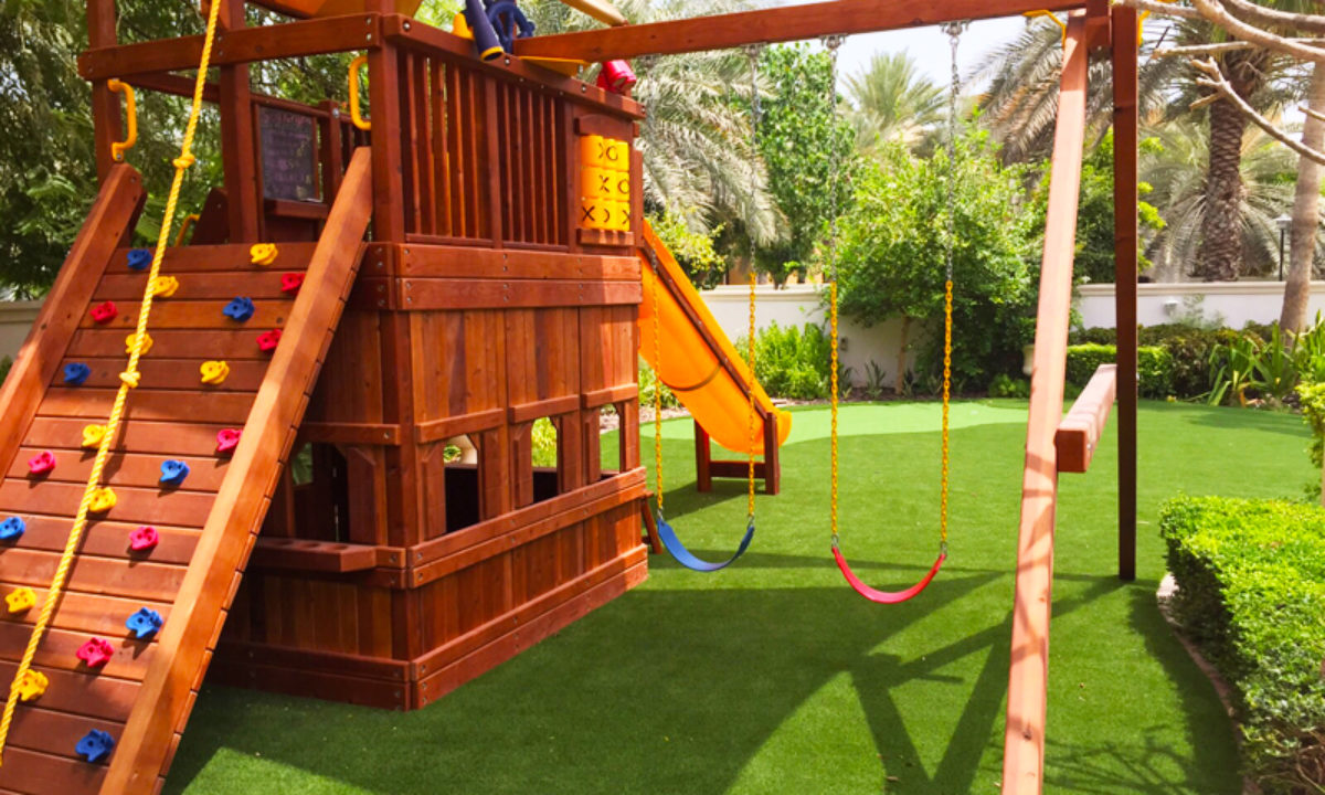 school playground with artificial grass