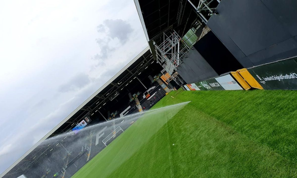 Outline of Fulham pitch with artificial grass